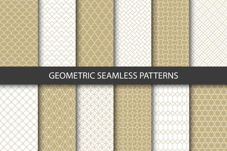 Insieme di vettore dei reticoli senza giunte ornamentali dorati. Collezione di modelli moderni geometrici di lusso. Pattern aggiunti al pannello dei campioni. Vettoriali