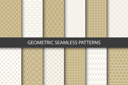 Vector set of golden ornamental seamless patterns. Collection of geometric luxury modern patterns. Patterns added to the swatch panel. Vector Illustration