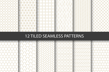 Vector set of tiled seamless patterns. Collection of geometric linear modern patterns. Patterns added to the swatch panel.