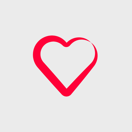 Vector red stylized heart icon. Logo for your design. Çizim