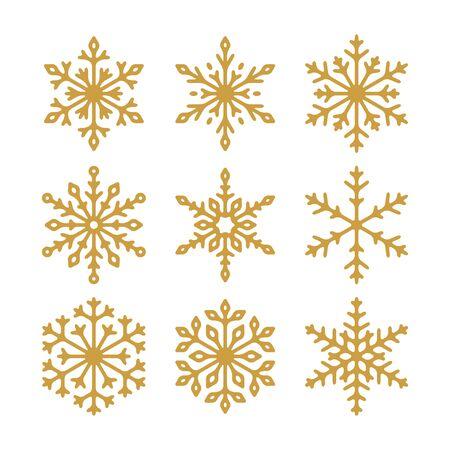 Set di icone vettoriali fiocchi di neve d'oro. Raccolta di illustrazioni per il tuo design. Vettoriali