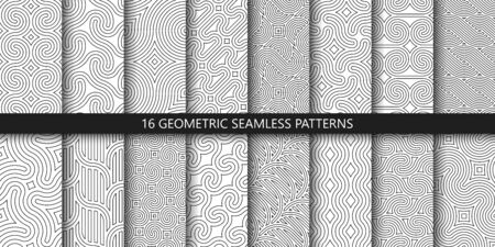 Vector set of linear ornamental seamless patterns. Collection of geometric braided modern patterns. Patterns added to the swatch panel.
