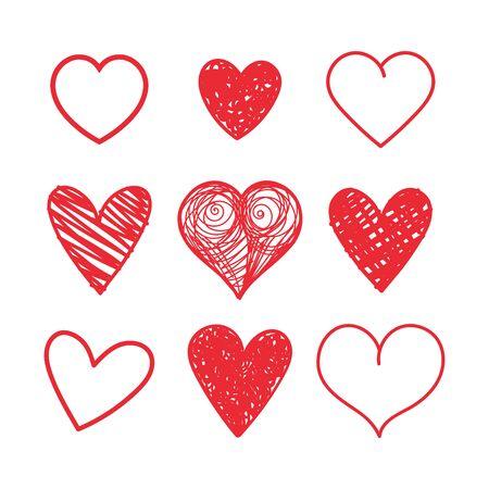 Ensemble de vecteurs de coeurs dessinés à la main sur fond blanc.