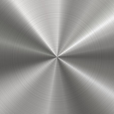 Circular brushed metal texture. Vector radial steel background with scratches.