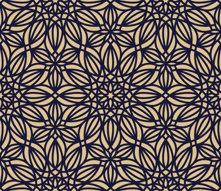 Stylish floral seamless pattern. Vector ornamental background in navy blue and gold colors.