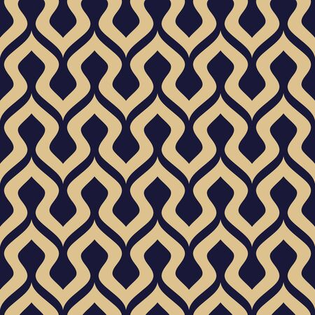 Stylish wavy geometric seamless pattern. Vector modern texture in navy blue and gold colors.