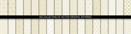 Big set of 34 different vector ornamental seamless patterns. Collection of geometric patterns in the oriental style. Patterns added to the swatch panel. Standard-Bild - 141028789