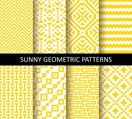Vector set of yellow ornamental seamless patterns. Collection of geometric modern patterns. Patterns added to the swatch panel.