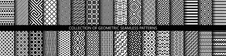 Vector set of black and white ornamental seamless patterns. Collection of geometric modern patterns. Patterns added to the swatch panel.