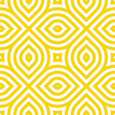 Vector yellow geometric pattern. Seamless braided linear pattern.