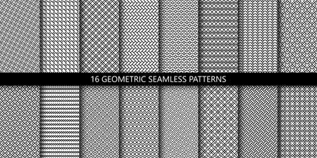Vector set of linear ornamental seamless patterns. Collection of simple geometric modern patterns. Patterns added to the swatch panel. Illusztráció