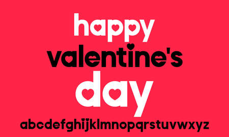 Vector geometric alphabet with stylized letters for Valentines Day. Elegant modern font for your design . Illusztráció