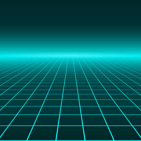 Vector perspective grid. Abstract retro background in 80s style. Illusztráció