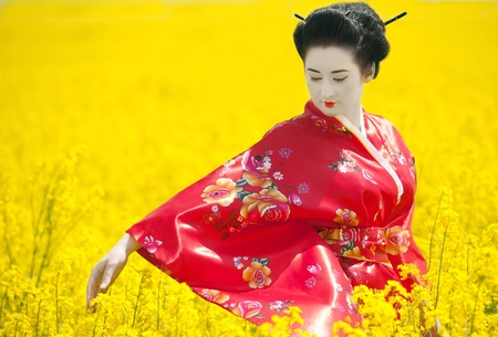 japanese kimono: Geisha in the yellow field Stock Photo