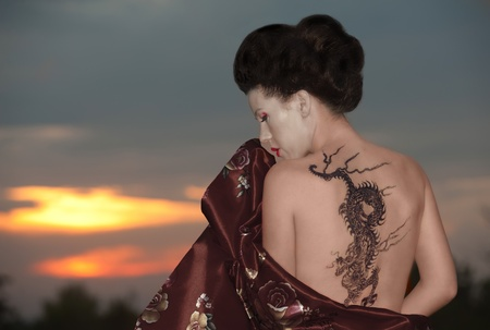 Geisha in vineyard Stock Photo