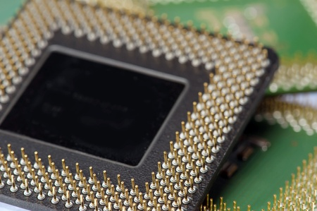 Close up of CPU processors  various colors  photo