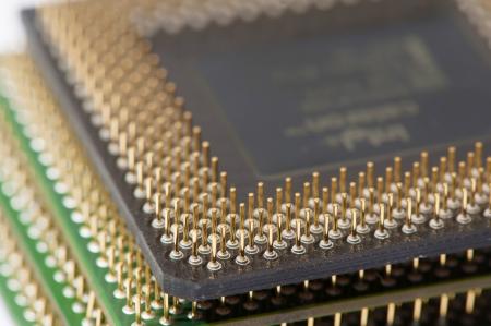 Close up of CPU processors  stack  photo