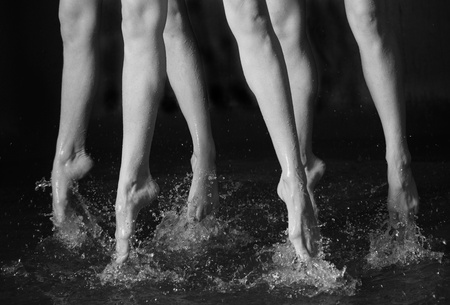 waxed: Dancing legs in the water  black   white