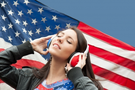 Learning language - American English  girl, close eyes Stock Photo - 13900305