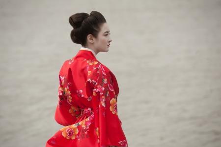 geisha kimono: Sad geisha at the riverside Stock Photo