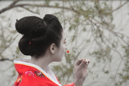 Geisha with the little red flower photo