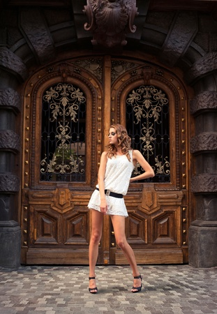 Portrait of a posing young woman in front of the old decorated door Stock Photo - 15075628