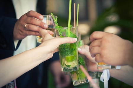 social gathering: Group of people toasting at a party