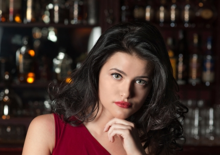 Portrait of brunette girl at a Bar Stock Photo - 15684137