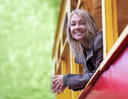 trams: Girl at the old tram window
