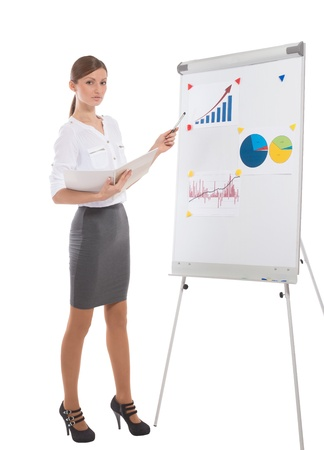 Full length portrait of an office lady during business presentation, on white background