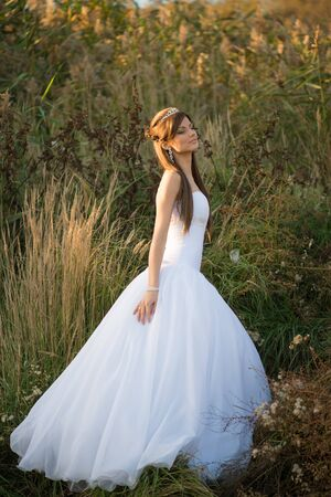 Beautiful lady in wedding dress walking in the countryside at sunset photo