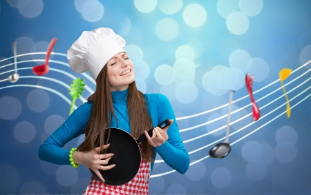 Woman in chef's hat and apron playing pan like guitar with notes on background