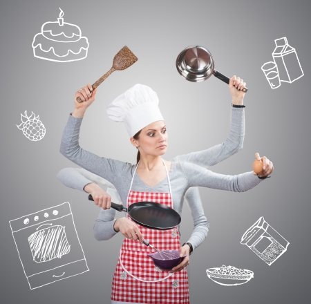 Busy housewife concept with many hands and with the drawn ingredients on grey background photo