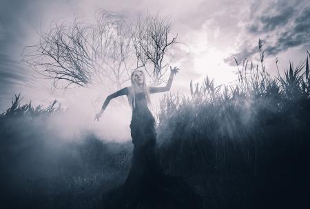 ショット単色、霧の中の悪魔のような女性の姿