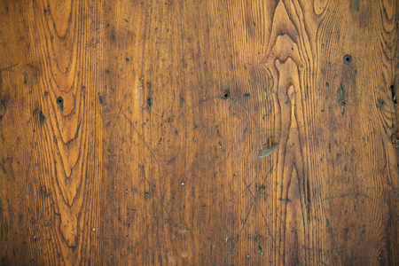 Wood texture – Old scratched oak table top Stock Photo
