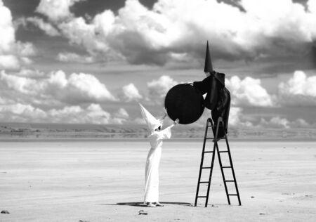 firmament: Strange figures in black cloak and white cloak fasten the black moon to firmament  Artwork