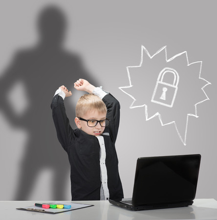 parental control: Angry boy with laptop which was closed by parental control system and the parent silhouette on background  Access denied