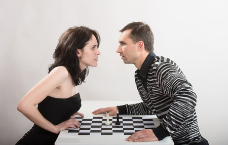 antithesis: Confrontation between man and woman, concept Stock Photo
