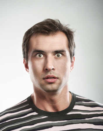 Close-up portrait of a shocked man photo