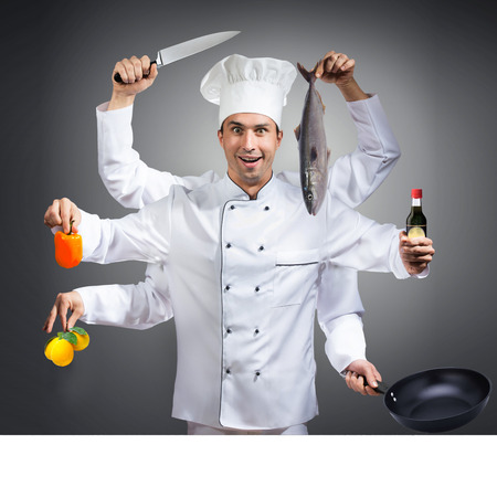 Humorous portrait of a chef with many hands, gray background