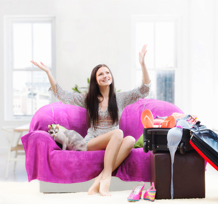 foretaste: Happy girl going on vacation Stock Photo