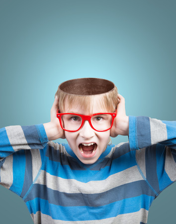 health answers: Concept of screaming boy with opened head