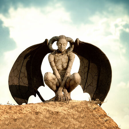 fairytale character: Mystic creature - woman in body paint with wings and horns