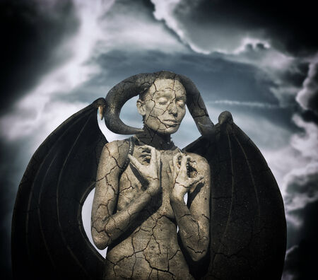 body paint: Mystic creature - woman in body paint with wings and horns