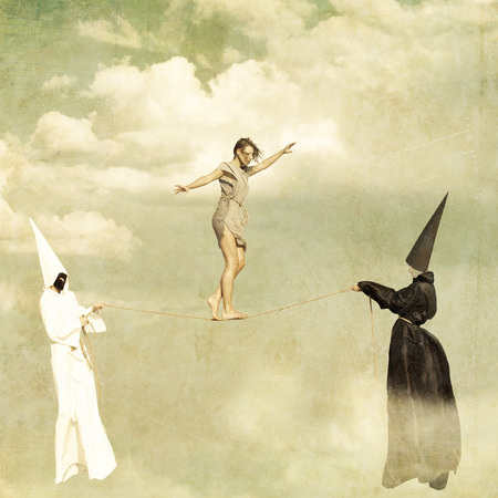Woman walking along a tightrope held by two mysterious persons wearing white and black clothes