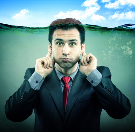 noiseless: Businessman under the water Stock Photo