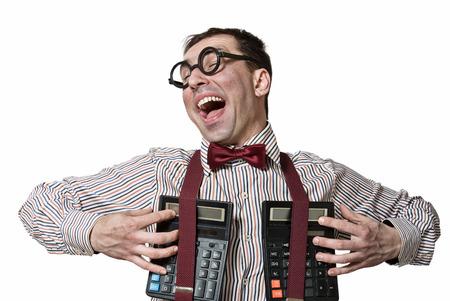 Accountant: Humorous portrait of a happy accountant