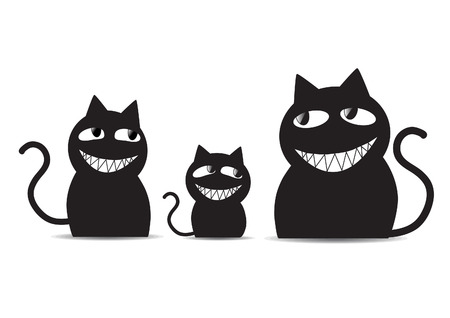 gato caricatura: Gatos negros familia