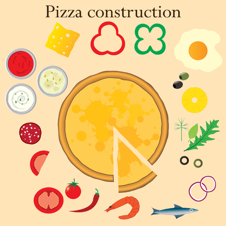 pizza ingredients: Pizza and ingredients. Construction set. Illustration