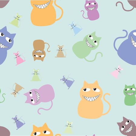 Cats family seamless texture